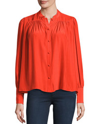 Red button down blouse original 4299595