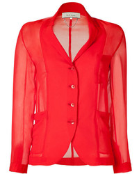 Red sheer blazer blouse medium 5023488