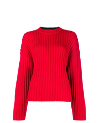 Jil Sander Navy Bicolour Cable Knit Sweater