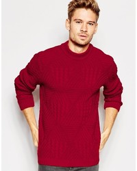 Asos Brand Cable Knit Sweater With Chunky Neck