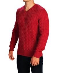 Barbour Burnham Cable Knit Sweater V Neck