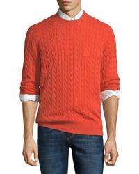 Brunello Cucinelli Cashmere Cable Knit Crewneck Sweater