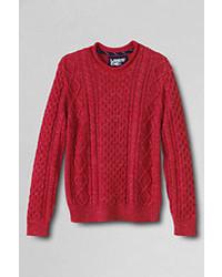 Classic Cotton Slub Aran Cable Rollneck Sweater  Navy Stripexl
