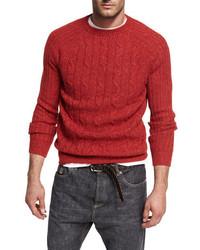Brunello Cucinelli Donegal Cable Knit Crewneck Sweater