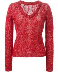 Ermanno Scervino Cable Knit V Neck Sweater