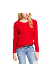 Express Side Slit Cable Knit Sweater Red Small