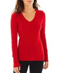 jcpenney Jcp Jcp Wool Blend Cable Knit V Neck Sweater Talls