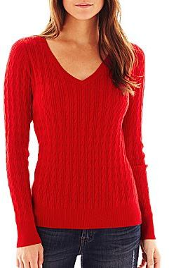 jcpenney Jcptm V Neck Cable Knit Sweater Talls | Where to buy ...