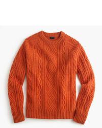 J.Crew Lambswool Cable Crewneck Sweater