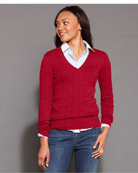 Women's Red Cable Sweaters by Tommy Hilfiger | Women's Fashion