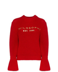 Philosophy di Lorenzo Serafini Red Logo Wool Jumper
