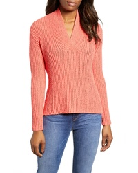 Caslon Split Neck Rib Knit Sweater