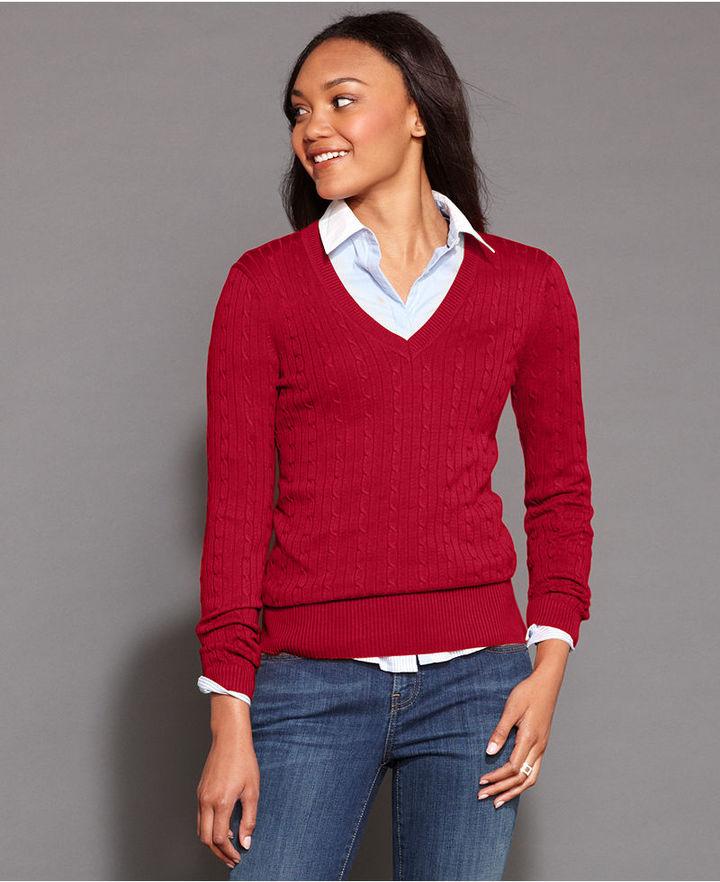 red cable sweater tommy hilfiger long sleeve v neck cable. Black Bedroom Furniture Sets. Home Design Ideas