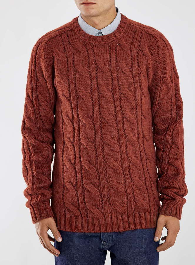 Topman Rust Wool Mix Cable Knit Sweater | Where to buy & how to wear
