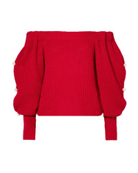 Hellessy Vessel Off The Shoulder Embellished Cotton Sweater