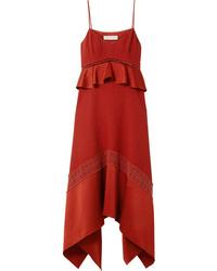 Rachel Zoe Astrid Crochet And Med Crepe Midi Dress