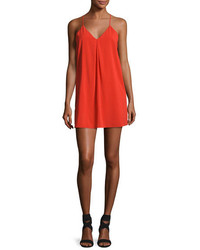 Alice + Olivia Fierra Crepe Y Back Tank Dress Bright Red