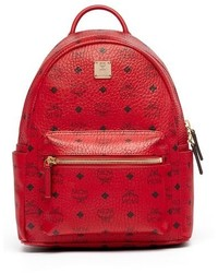 MCM Small Stark Coated Canvas Backpack Red