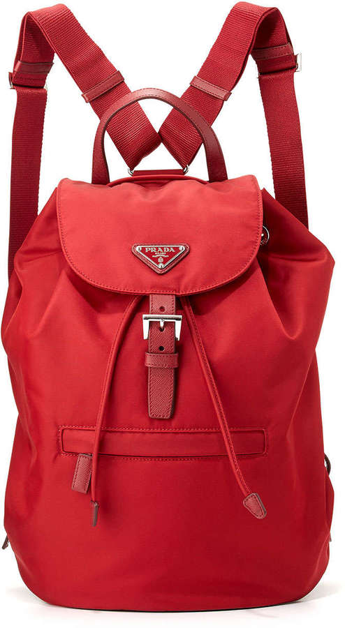 prada saffiano executive tote - Prada Vela Large Drawstring Backpack Red | Where to buy \u0026amp; how to wear