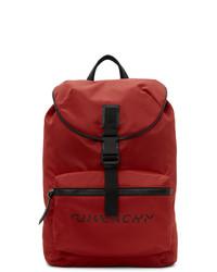 Givenchy Red Split Logo Packaway Backpack