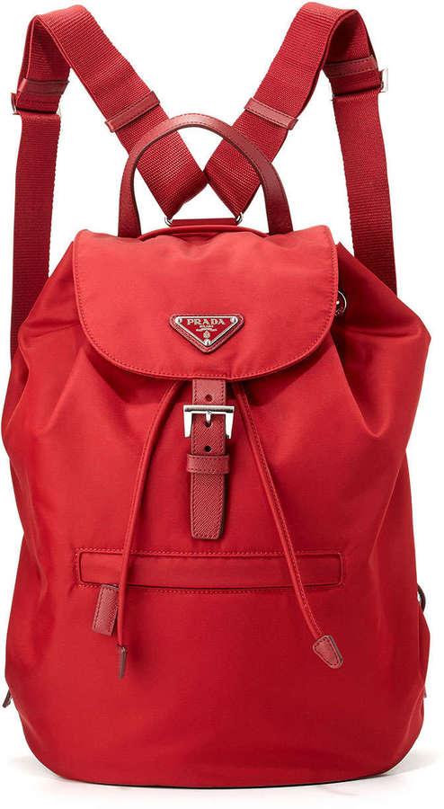 92ea7dda69c0 ... Prada Vela Large Drawstring Backpack Red ...