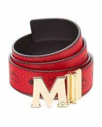 MCM Claus Golden Reversible Visetossaffiano Belt Ruby Red