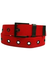 Luxury Divas Red Military Canvas Grommet Belt W Black Hardware