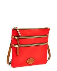 Dooney & Bourke Triple Zip Nylon Crossbody Bag Red