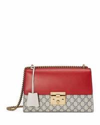 Gucci Padlock Gg Supreme Medium Shoulder Bag Red