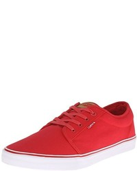 Red Canvas Low Top Sneakers