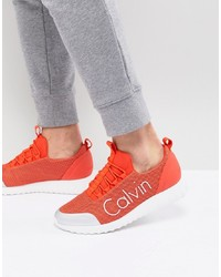 Calvin Klein Ron Trainers In Orange Mesh