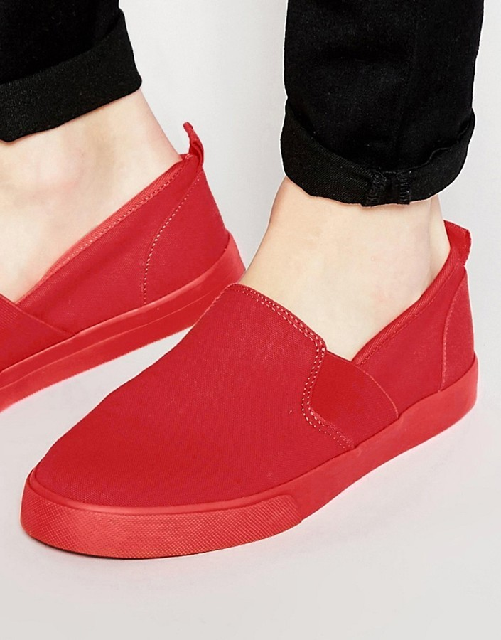 Asos Brand Slip On Sneakers In Canvas