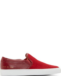 Red canvas leather slip on sneakers medium 245092