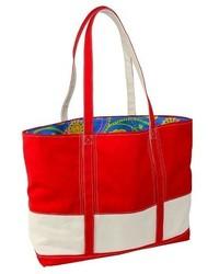 Hadaki Big Easy Striped Cotton Canvas And Nylon Tote Handbag