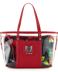 Love Moschino Jungle Clear Tote Bag Blackred