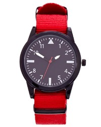 Asos Watch With Red Canvas Strap