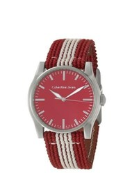 Calvin Klein Jeans Variance Red Stainless Steel And Canvas Quartz Watch
