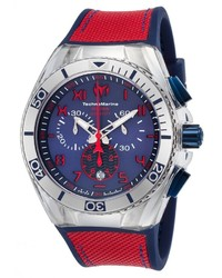 Technomarine Cruise Calif Chrono Blue Silicone Red Canvas Ss And Silicone