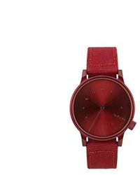 Komono Unisex Kom W2110 Winston Heritage Series Red Stainless Steel Watch With Canvas Band