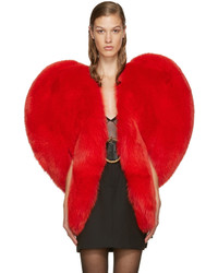 Saint Laurent Red Fur Heart Cape