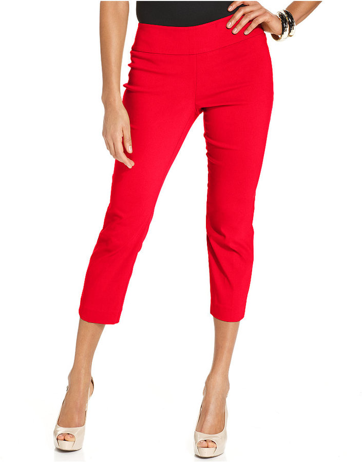 Alfani Petite Tummy Control Pull On Capri Pants Only At Macys ...