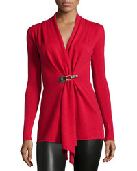 Neiman Marcus Cashmere Buckle Front Cardigan Red