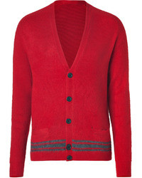 Marc by Marc Jacobs Dark Redgrey Cashmere Silk Striped Cardigan
