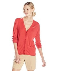 Lacoste Long Sleeve Cotton Double Overlay V Neck Cardigan Sweater
