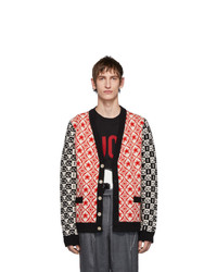 Gucci Red And Black Wool Jacquard Cardigan