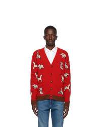Gucci Red Wool Hawaii Cardigan