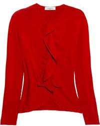 Valentino Ruffled Stretch Knit Cardigan