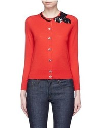 Marc Jacobs Sequin Bow Embellished Wool Cardigan