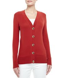 Tory Burch Simone Logo Button Cardigan Acai Red