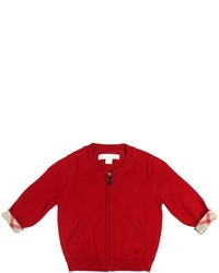 Burberry Zip Up Cotton Tricot Cardigan